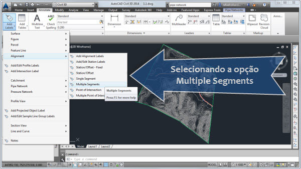 add labels alignment selecionando a opcao Multiple Segments
