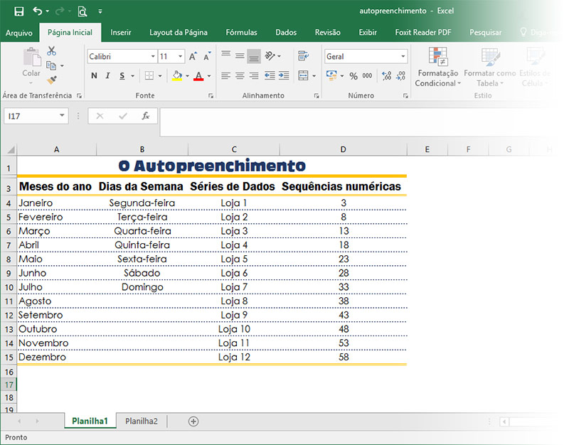 resultado final do autopreenchimento no exceL