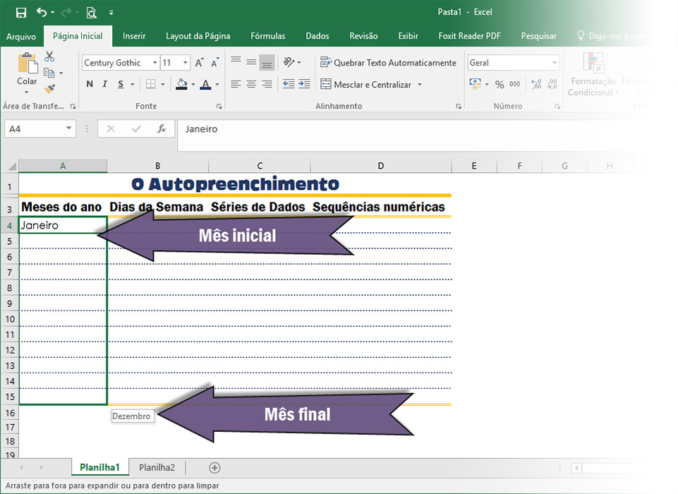 uso do autopreenchimento no excel para meses do ano