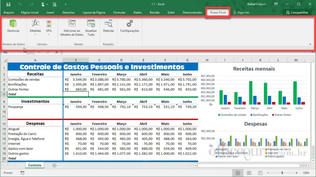 Ferramentas Power Pivot do Excel 2016.